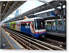 Skytrain Carriage Metro Railway At Nana Station Bangkok Thailand Acrylic Print by Imran Ahmed