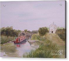 Acrylic Print featuring the painting Slapton Lock by Martin Howard