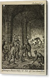 Slaves Working In An Underground Catacomb Acrylic Print by British Library