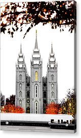 Slc White N Red Temple Acrylic Print by La Rae  Roberts