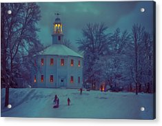 Sledding At The Old Round Church Acrylic Print by Jeff Folger