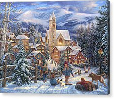 Sledding To Town Acrylic Print
