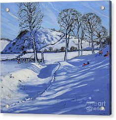 Sledging  Derbyshire Peak District Acrylic Print by Andrew Macara