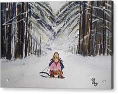Sledging In The Wood Acrylic Print by Carole Robins