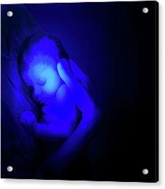 Sleeping Baby Under Blue Light Acrylic Print
