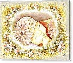 Acrylic Print featuring the painting Sleeping Baby Vintage Dreams by Irina Sztukowski