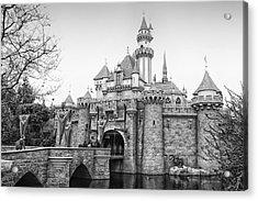 Sleeping Beauty Castle Disneyland Side View Bw Acrylic Print by Thomas Woolworth