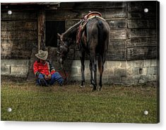 Sleeping Cowboy Acrylic Print by Donald Williams