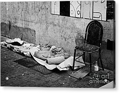 sleeping rough on the streets of Santiago Chile Acrylic Print by Joe Fox
