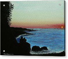 Sleepy Blue Ocean Acrylic Print by Dan Wagner