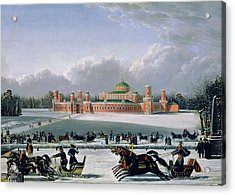 Sleigh Race At The Petrovsky Park In Moscow Acrylic Print