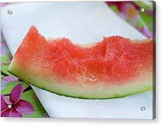 Slice Of Watermelon With Bites Taken On Fabric Napkin Acrylic Print