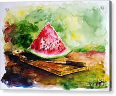 Sliced Watermelon Acrylic Print by Zaira Dzhaubaeva