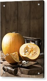Slicing Pumpkins Acrylic Print by Amanda Elwell