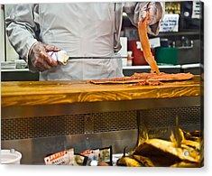 Slicing Smoked Salmon At Zabar's Acrylic Print by Rona Black