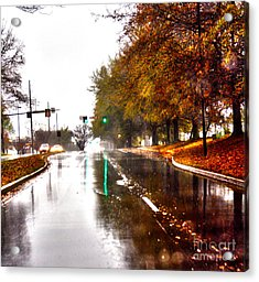 Acrylic Print featuring the photograph Slick Streets Rainy View by Lesa Fine