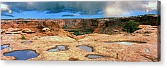 Slickrock Waterpocket Pools Reflect Acrylic Print by Panoramic Images