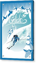 Slide And Glide Retro Ski Poster Acrylic Print