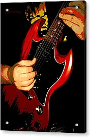 Red Gibson Guitar Acrylic Print by Chris Berry