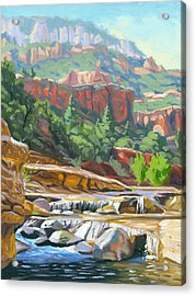 Slide Rock Acrylic Print by Steve Simon