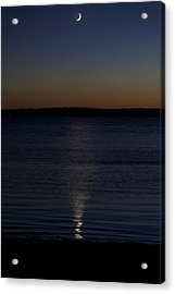 Sliver - A Crescent Moon On The Lake Acrylic Print