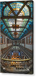 Slocum Hall Romanesque Arcade And Stained-glass Skylight Ohio Wesleyan University Acrylic Print by Brian Mollenkopf