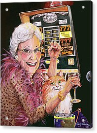 Slot Machine Queen Acrylic Print by Shelly Wilkerson