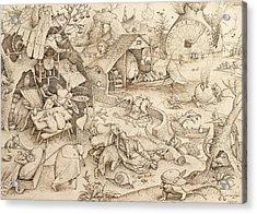 Sloth Pieter Bruegel Drawing Acrylic Print by