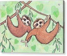 Sloth Valentines Acrylic Print by Melissa Rohr Gindling