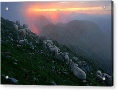 Acrylic Print featuring the photograph Slovenian Sunset by Graham Hawcroft pixsellpix