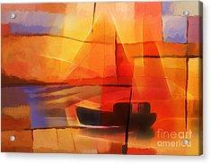 Slow Boat Acrylic Print by Lutz Baar