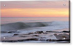 Slow Motion Wave At Colorful Sunset Acrylic Print