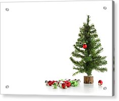 Small Artifical Tree With Ornaments On White Acrylic Print by Sandra Cunningham