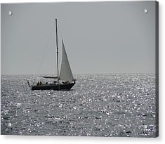 Small Boat At Sea Acrylic Print