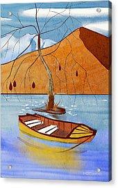 Small Boat On Lake Water Acrylic Print
