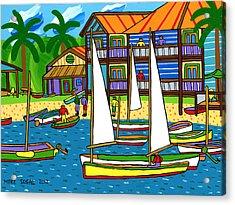 Small Boat Regatta - Cedar Key Acrylic Print by Mike Segal