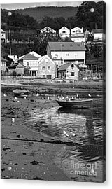 Small Boats And Seagulls In Galicia Bw Acrylic Print