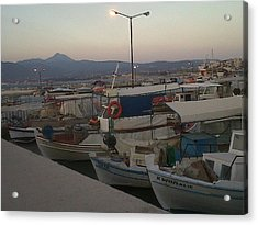 small boats at sunset in Corinthos         Acrylic Print by Andreea Alecu