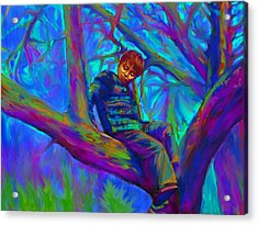 Small Boy In Large Tree Acrylic Print by Hidden  Mountain