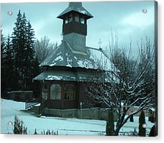 Small Church Romania Acrylic Print by Andreea Alecu
