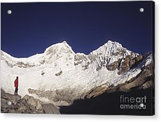 Small Climber Big Peaks Acrylic Print by James Brunker