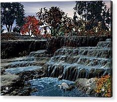 Small Falls At Sunset Acrylic Print by John Pangia