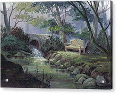 Acrylic Print featuring the painting Small Falls Descanso by Michael Humphries