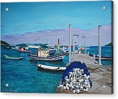 Small Pier In The Afternoon-buzios Acrylic Print by Chikako Hashimoto Lichnowsky