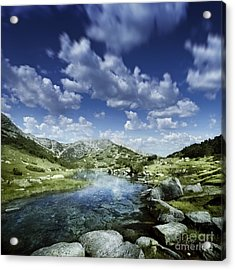 Small Stream In The Mountains Of Pirin Acrylic Print by Evgeny Kuklev