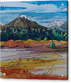 Small Sunriver Scene Acrylic Print by Terry Holliday