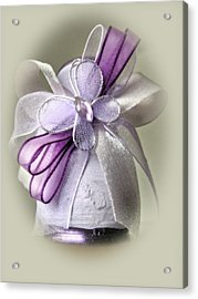 Small Vase With Butterfly And Violet Ribbons Acrylic Print by Vlad Baciu