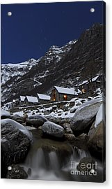 Small Village At Full Moon Acrylic Print by Maurizio Bacciarini
