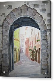 Small Village In Italy Acrylic Print by Elvira Ingram
