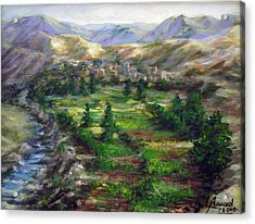 Acrylic Print featuring the painting Village In The Mountain  by Laila Awad Jamaleldin